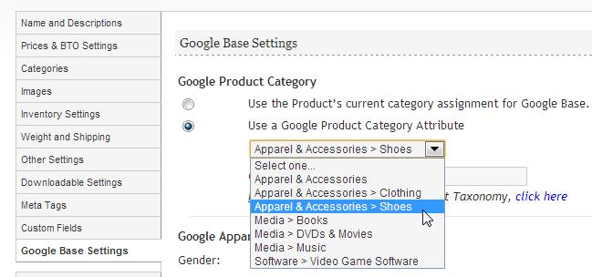 google shopping settings