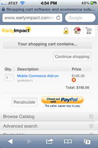 Mobile Commerce Shopping Cart