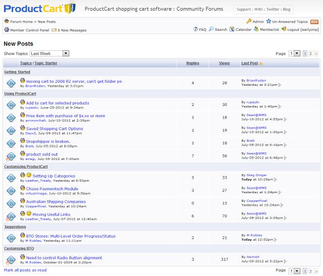 productcart forum last 7 days
