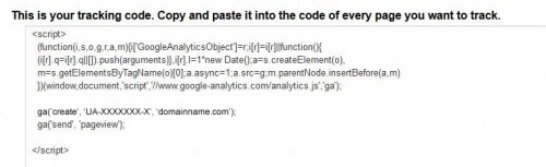 Sample Universal Analytics Tracking Code
