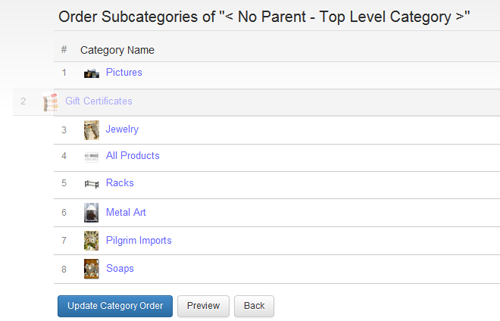 Reordering products and categories couldn't be easier