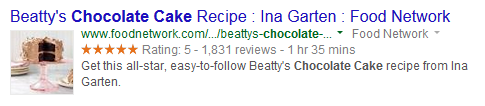 An example of a search engine result that includes Rich Snippets via microdata mark-up.