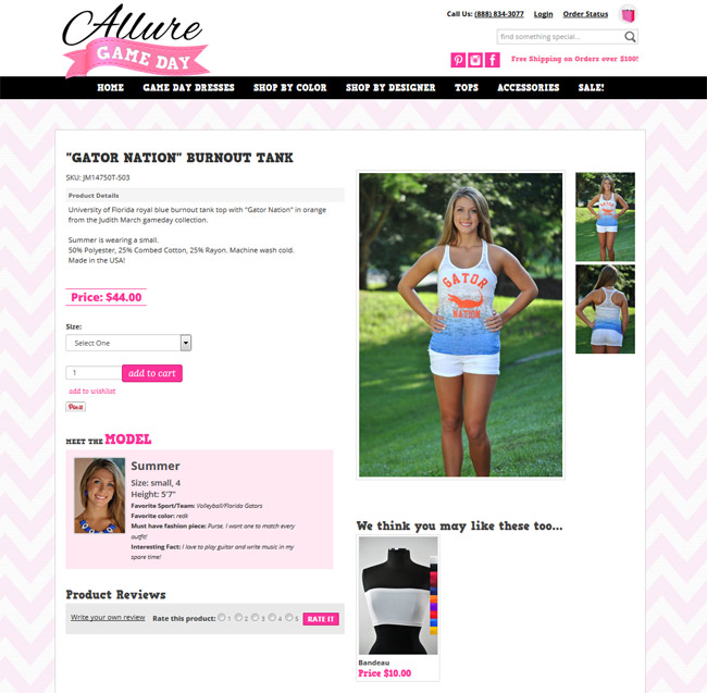 Game Day Allure offers the bandeau to compliment their burn-out tank as a suggested add-on purchase.