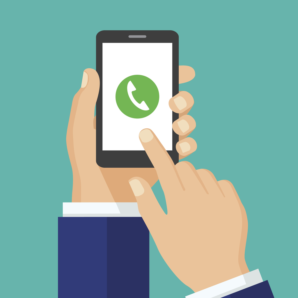 Ecommerce Store Call Tracking -Phone call button on smartphone screen.  Mobile phone call consept. Hand holding smartphone, finger touching screen. Answer the call. Creative flat design vector illustration.