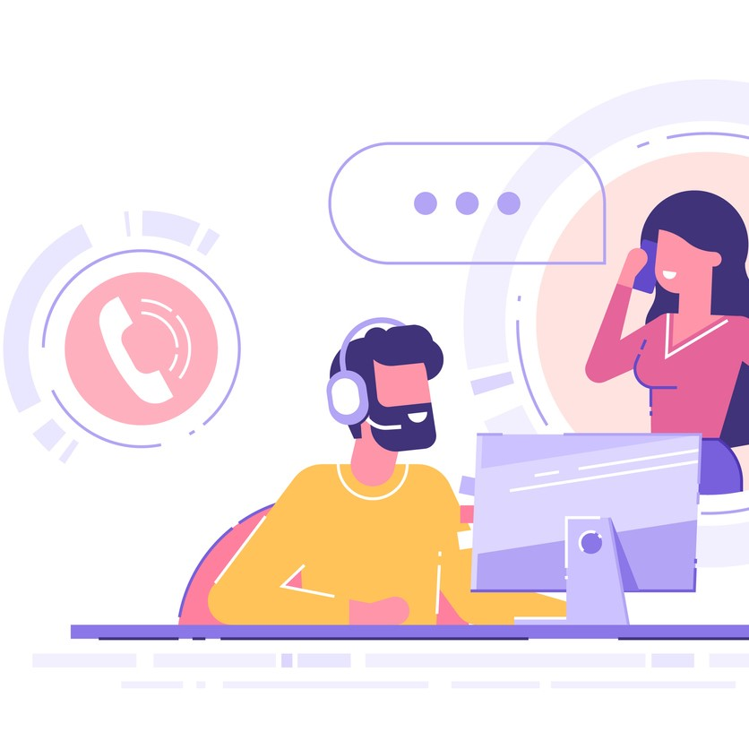 ecommerce store call tracking - Man with headset is sitting at his computer and  talking with client. Clients assistance, call center, hotline operator, consultant manager, technical support and customer care. Vector illustration.